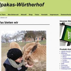 Alpakas-Wörtherhof Website mit Webshop